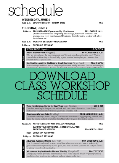 Amplify Class Schedule